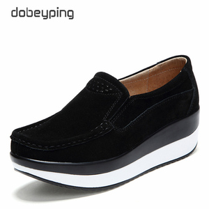 Image 1 - 2018 New Spring Autumn Shoes Woman Platform Women Shoes Cow Suede Leather Flats Thick Sole Womens Loafers Moccasins Female Shoe