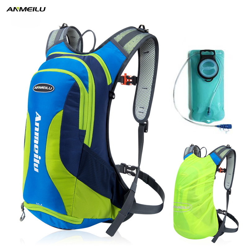 ANMEILU 10L Waterproof Camping Backpack 2L Water Bag Outdoor Sport Bag Rucksacks Climbing Hiking Cycling Backpack Rain Cover anmeilu 25l climbing bag sports rucksack waterproof cycling camping backpack rain cover sport travel bags 2l water bag camelback