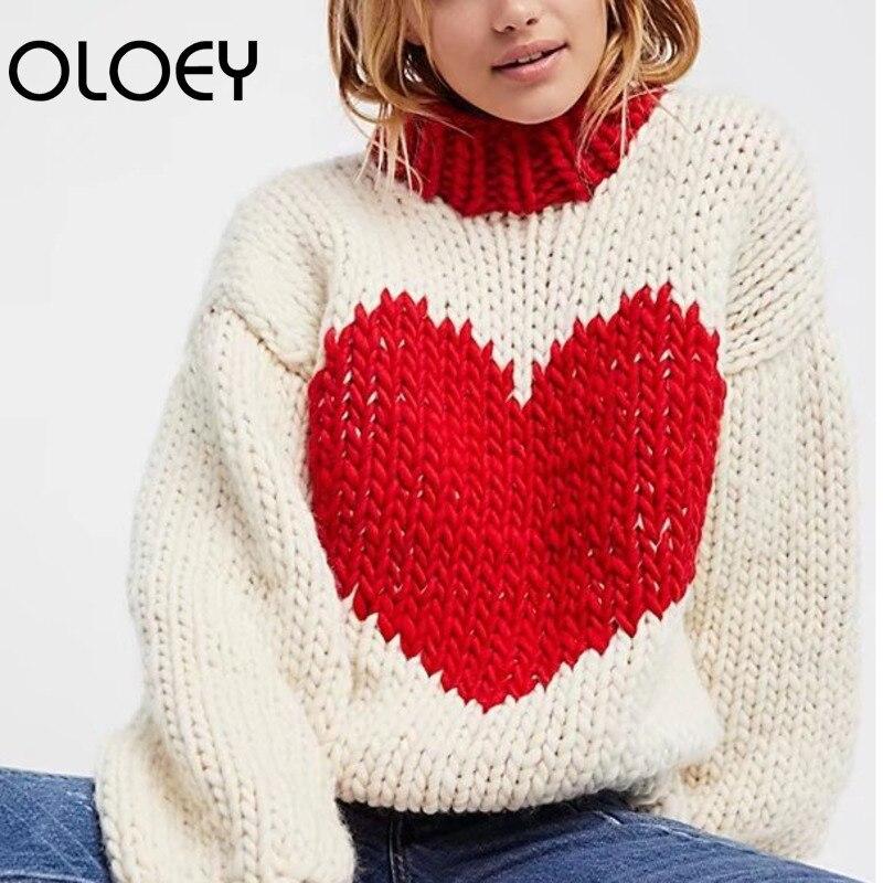 Invierno 2019 Otoño De Manga Larga Oloer Redondo Tejer Casual Moda Suéter Suelto Black Cuello Nuevo Impresión white Grueso Jerseys E J346 Mujeres Iwp5wtq