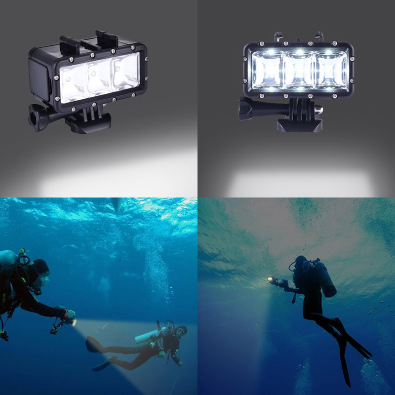 Hot Underwater Diving Light High Power Dimmable Camera Waterproof LED Lights for Gopro Hero 5/5S/4/3+/3 SJ4000/SJ5000 --M25 scuba dive light