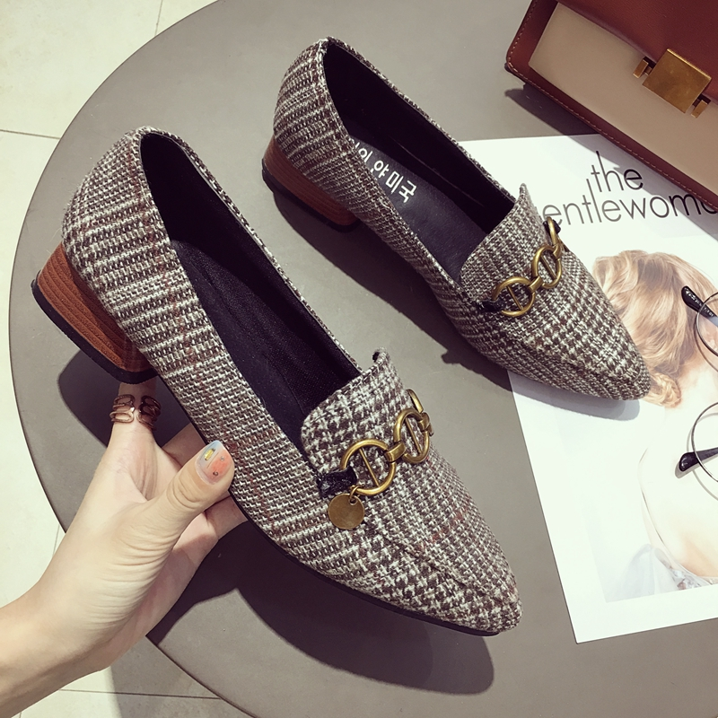 Brand Shoes Women Casual Pointed Toe Black Plaid Oxford