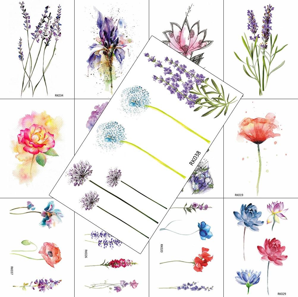 Watercolor Flower Temporary Tattoos Lavender Dandelion Sticker Fake Waterproof Tattoo Decal For Women Body Art Legs Sheet Tatoos
