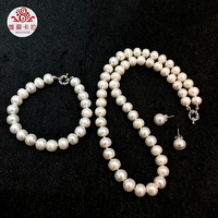 WEICOLOR Wholesale( 6 sets) 9 10mm High Luster Half round White Natural Freshwater Pearl Jewelry Set .