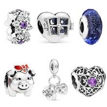 Fresh Style Small European Pendant Original Beads Dinosaur Pig Minnie Rocket Bouquet Fit Pandora Charms Bracelets DIY