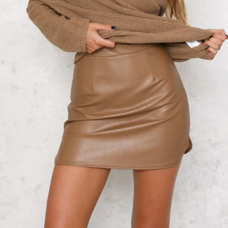 Nadafair New Arrival OL PU Leather Skirts High Waist Sexy Vintage A Line Office Skirts Womens