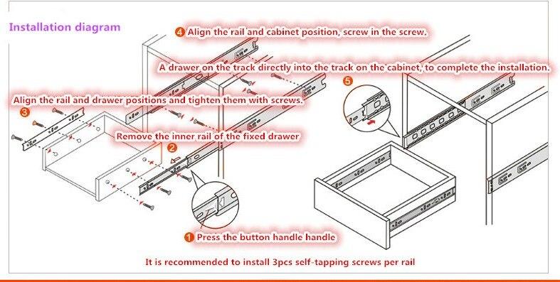 Ящик трек направляющих для выдвижения ящика три рельсы для выдвижного ящика направляющие рельсы направляющей, мебельная фурнитура, скобное изделие, фитинг, сальник
