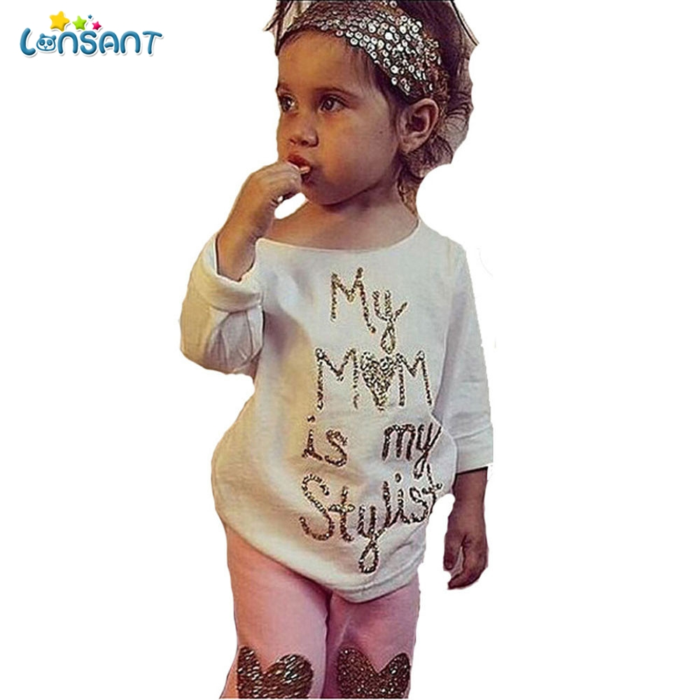 LONSANT Cute Lovely Toddler Kids Baby Boy Girl Wild Letter Black Casual Tops T-shirt Pants Outfits Clothes Summer Baby Set E1640