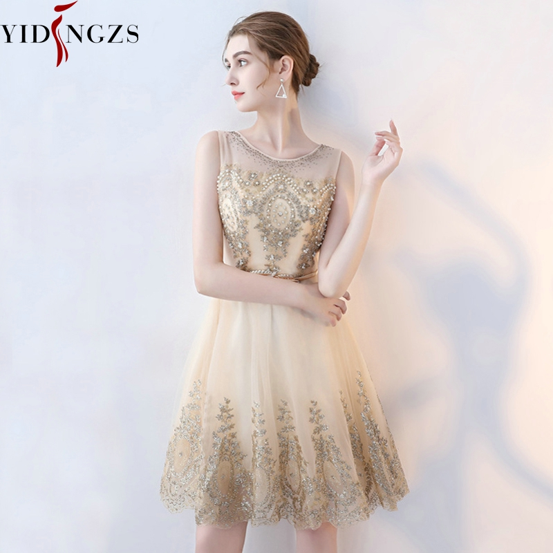 Short Evening Dress YIDINZGS Champagne Bling Bling Sequins Formal Party Dress