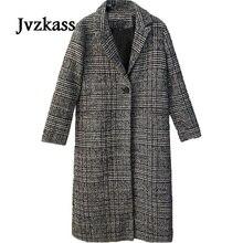 Jvzkass 2019 new Winter Coats Jackets warm wool blends vintage Houndstooth Oversized High Quality Long Coat Manteau Femme Z19