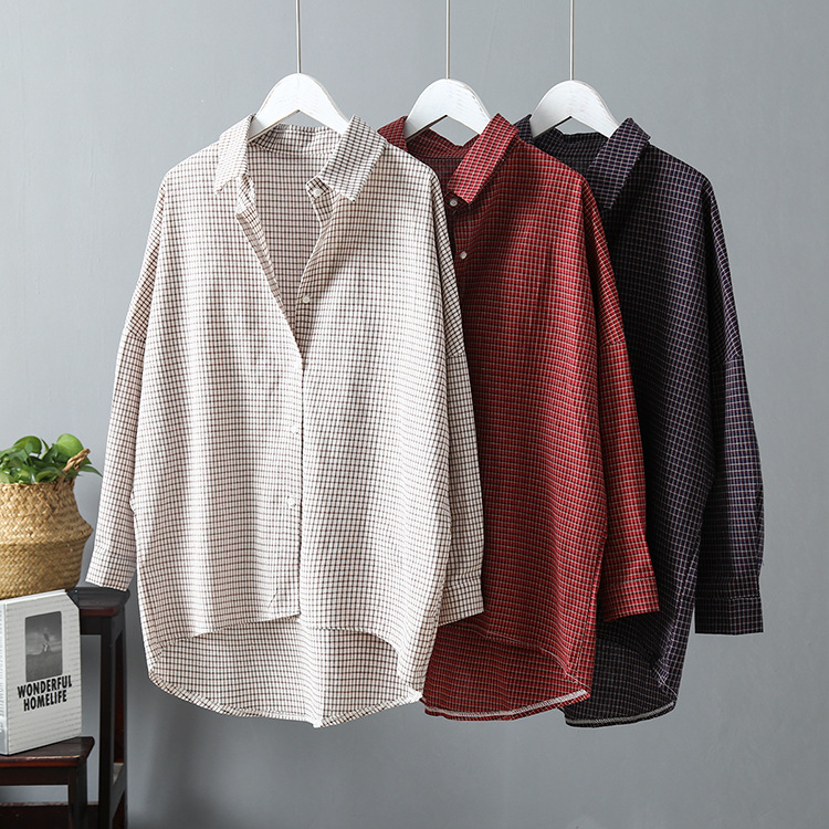 2020 Vintage Women Cotton Blouses Womens Tops And Blouses Boho Women Plaid Shirts Blusas Roupa Feminina Clothes Tops(China)