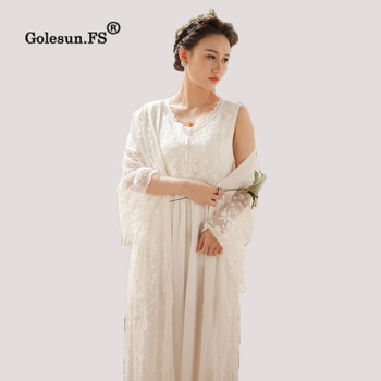 High Quality Autumn Winter Women Vintage Pure Cotton Gown Lady Princess Lace Floral Sleepwear Nightgowns Retro 063