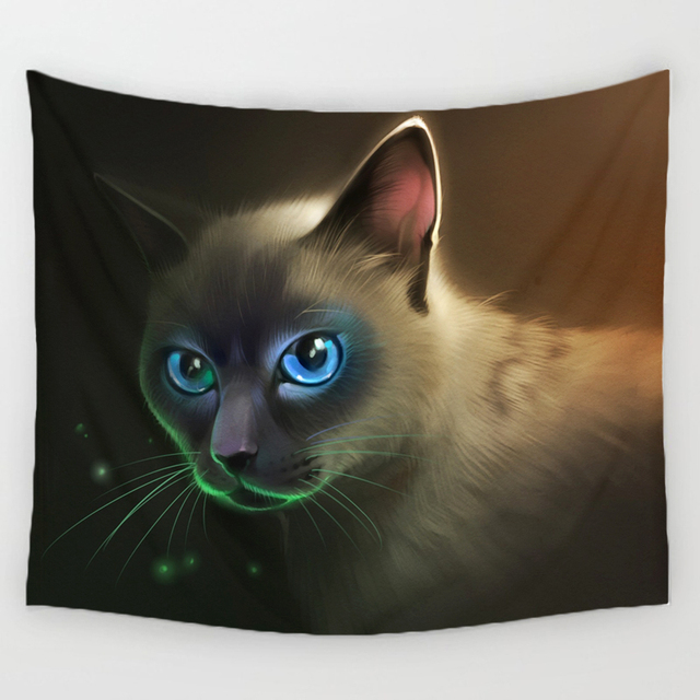 Comwarm 3D Creative Cool Cats Series Pattern Polyester Tapestry Animal Printed Wall Hanging Mural Gobelin Living Room Home Decor 4