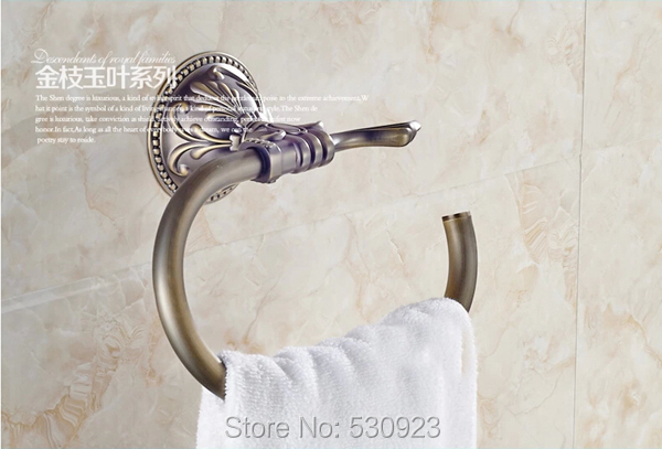 Newly Traditional Antique Bronze Bathroom Towel Ring Rack Carved Pattern Bath Towel Holder Shelf Wall Mounted