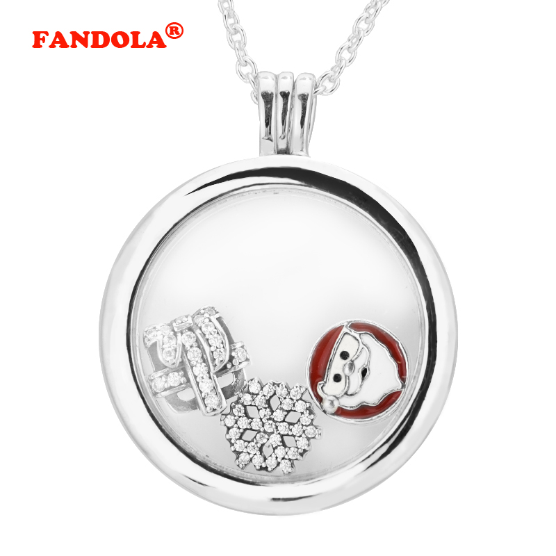 Nieuwe Christmas Wonder grote drijvende medaillon zilveren ketting - Fijne sieraden