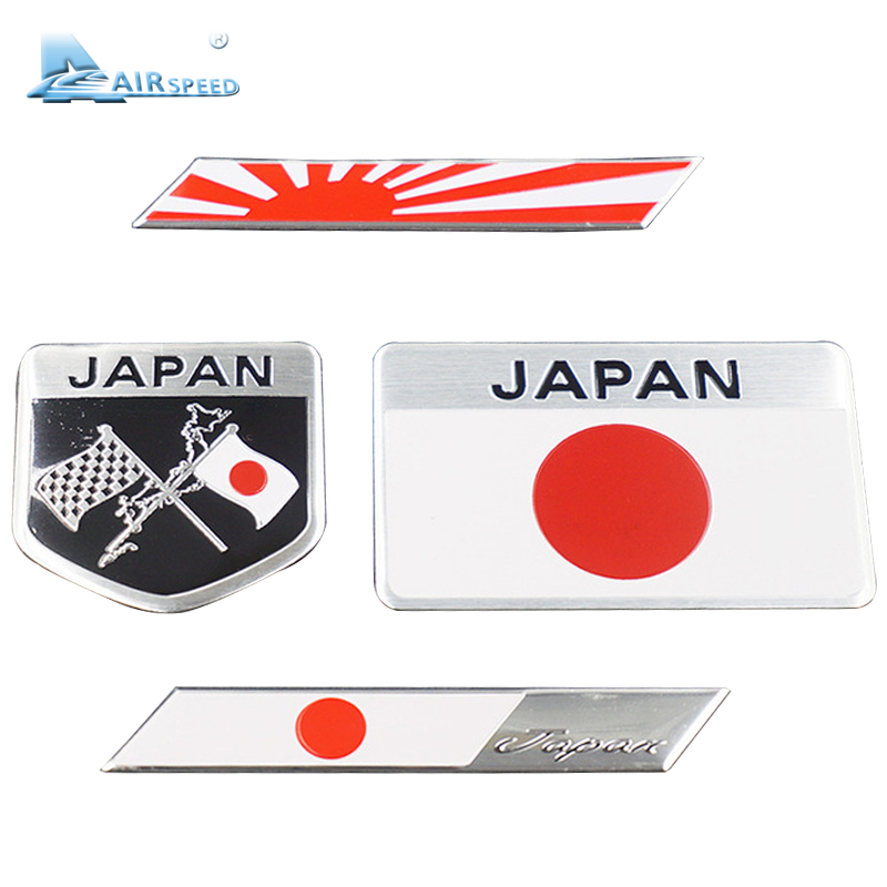 Airspeed 4 pcs/lot Japanese Flag Emblem Badge Car Stickers Decals Accessories For  Honda Nissan Mazda Lexus Mitsubishi