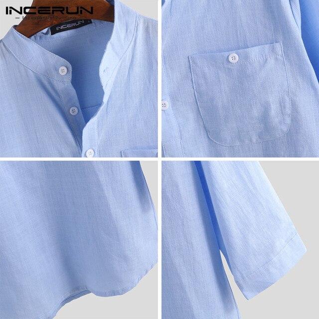 INCERUN Men Shirt Cotton 3/4 Sleeve Stand Collar Harajuku Tops Solid Color Vintage Brand Shirts 2021 Streetwear Camisa Masculina 5