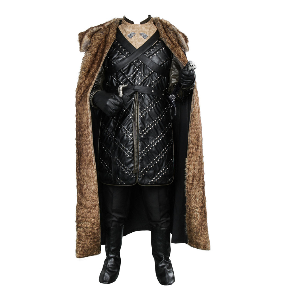 Takerlama Game of Thrones Season 7 Jon Snow Knight Cosplay Costume Leather Battle Armor Suit Men Halloween Cloak Outfit Full Set