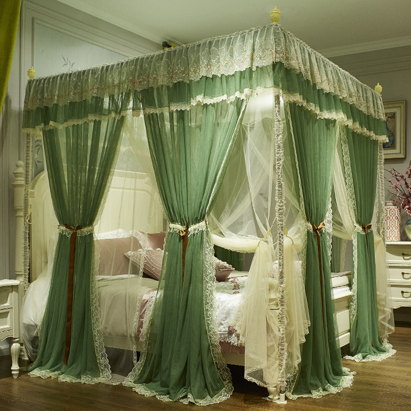 Green Pink Gray Red Double-deck Romantic White Lace Luxury Court Style Three-door Square Floor-standing Mosquito Net Bedding Set