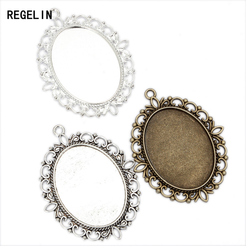 REGELIN Pendant Blank Settings Cabochons Bases Bezel Trays Fit Cabochon Cameo DIY Necklace Basic Findings 5pcs/lot 30x40mm