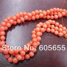 Морской бамбук оранжевый цвет 10 мм коралловые Круглые бусины для изготовления ювелирных изделий 5 нитей в партии