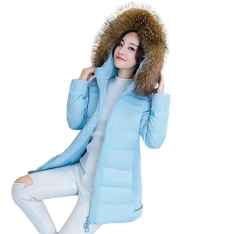 ФОТО down cotton jacket winter coat women a-line medium long thick hooded down parkas large faux fur collar cloak outerwear kp0868