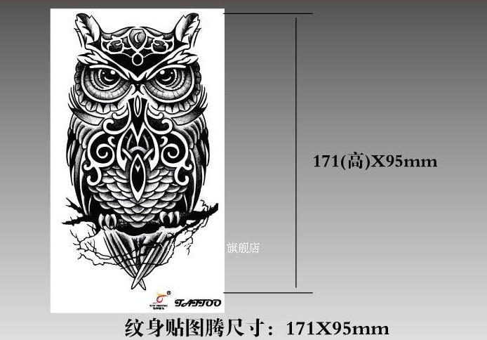 Temporary tattoos large black owl arm fake transfer tattoo stickers hot sexy men women spray waterproof designs 2