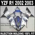 Carenagens de injeção completa kits para yamaha r1 2002 2003 yzf r1 02 03 branco azul da motocicleta carroçaria carenagem conjuntos