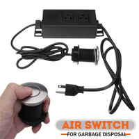 110V 32mm US Plug Kitchen Shower Room Garbage Disposal Air Switch Unit Assembly Push Button Sink Top Pressure Switch