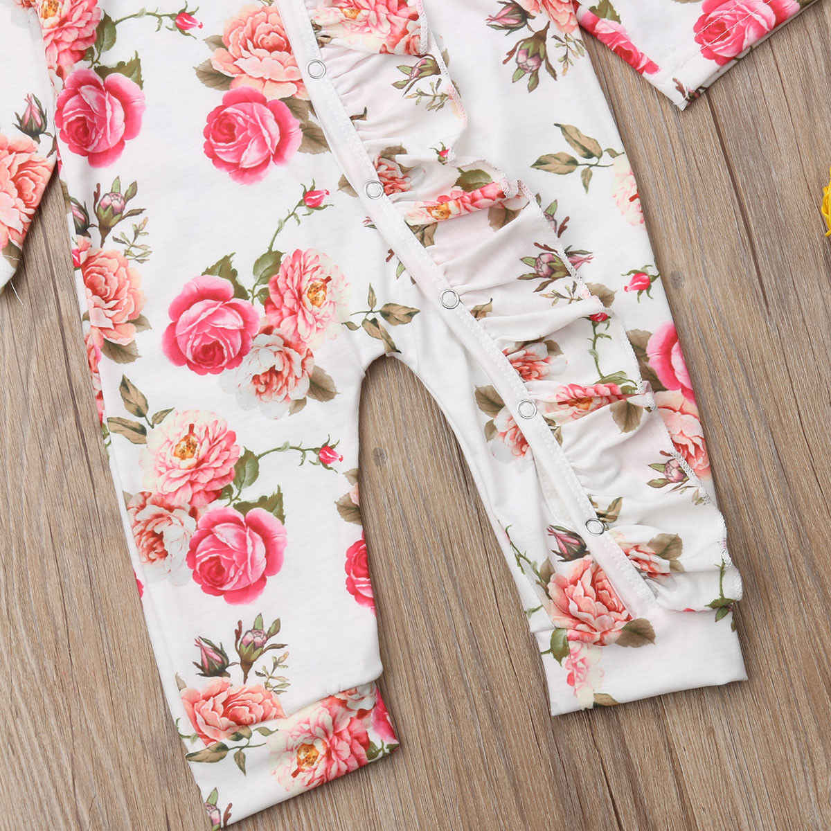 db84466c30e ... Newborn Baby Girl Floral Romper Fashion New Long Sleeve Button Party  Jumpsuit Holiday Girls Casual Cotton