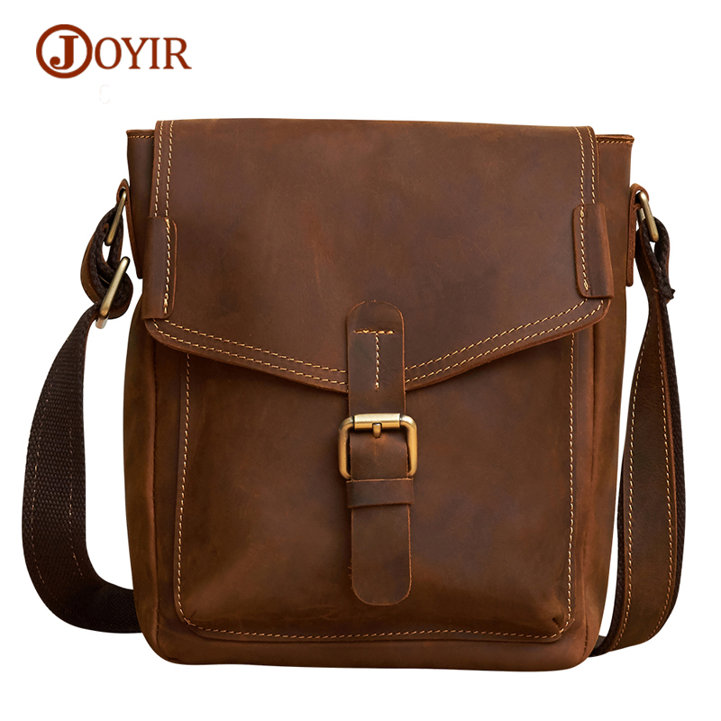 JOYIR Men's Bags Vintage Flap Cow Leather Genuine Leather Bag Men Messenger Bag Male Hasp Shoulder & Crossbody Bags Sac a Main new style messenger bag men leather top grade all match hasp fashion retro cow leather men bag solid color small shoulder bags