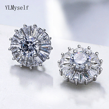 Real 925 fine earrings cz crystal jewelry quickly ship jewellery Elegant sterling silver round design stud earring for women