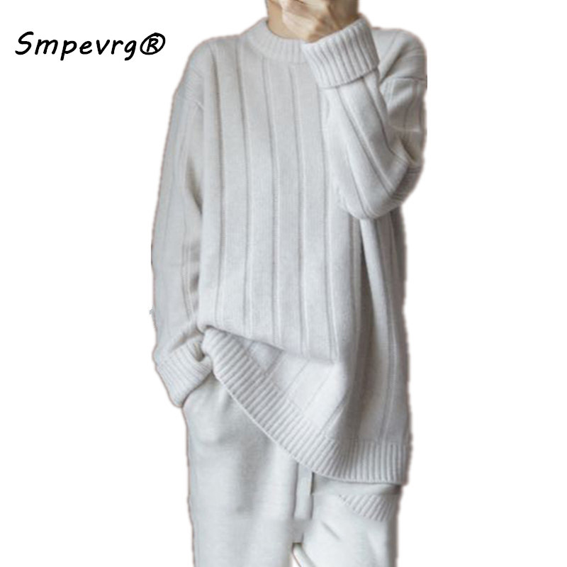 Smpevrg winter thick cashmere knitted sweater women sweaters and pullovers long sleeve O neck female pullover women knitted la