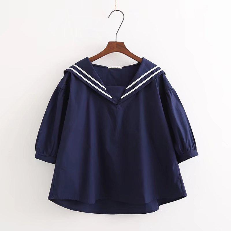 2018 Autumn New Women Japanese Mori Girl Doll Shirts Sailor Collar Half Sleeve Loose Shirt Tops Blue White Navy Blue