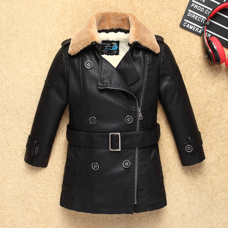 New Fur Collar Fleece Thick Boys Girls Long Leather Jacket for Autumn Winter Kids Motor Coat Bomber Children's Clothes thick fur collar boys girls leather jacket for autumn winter kids warm fleece stylish coat bomber kids jacket toddler girl