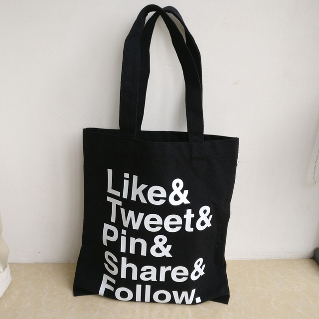 Whole 300pcs Lot 31hx36cm Custom Printed Logo Black Cotton Canvas Ping Bags Reusable Grocery
