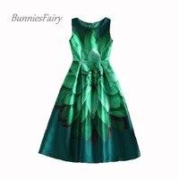 2015 Summer Celebrity Inspired Women Elegant Vintage Retro Flower Floral Print Vest Dresses Sleeveless O Neck