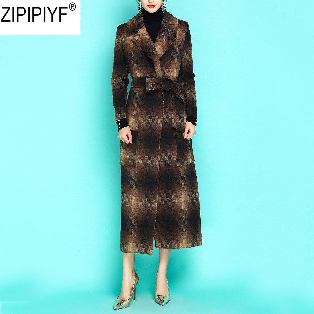 Autumn Slim Windbreaker Plaid Women England Style Long Coat Adjustable Waist Turn Down Collar Argyle Streeetwear