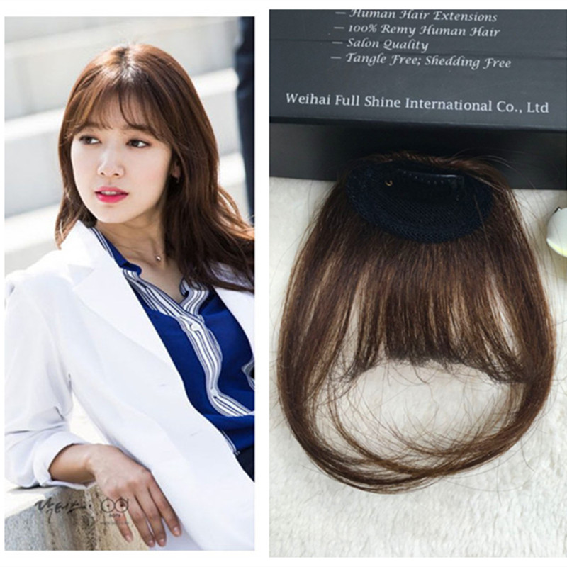 Full Shine Human Hair Clip Bangs 4 Real Fringe Extensions Remi Air Fake In From Wigs On Aliexpress