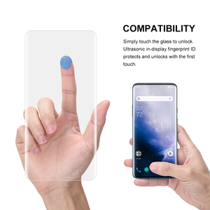 Image 4 - Screen Protector Tempered Glass For Oneplus 7 Pro with fingerprint unlock UV Glass film full cover for Oneplus 7T Pro