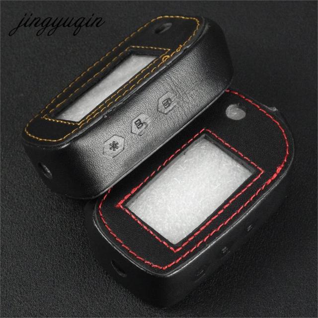 Jingyuqin para Starline A91 A61 B9 B6 Aleta Estojo De Couro Dobrável LCD Controlador Remoto Do Alarme Do Carro Chaveiro Tampa Chave Fob