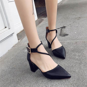 2018 new sexy comfortable wild thick with single shoes pointed straps high heels shallow mouth fashion wild high heels 1