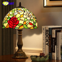 FUMAT Vintage Fashion Table Lamp European Style Lamps For Living Room Bedside Lights Creative Art Dimmer Tiffany Table Lights