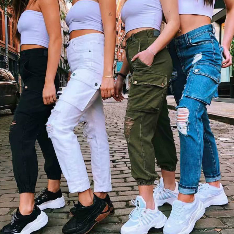 XIKOI Women Destroyed Ripped Loose Hole Denim Pants High Street Cargo Pants Jeans Trousers Hollow Out Jeans Pant With Pockets