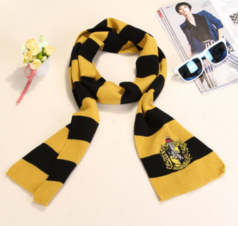 Potter Scarf Cosplay Costume Gryffindor Slytherin Ravenclaw Hufflepuff Cotton Scarf for Women/Men/girl/boy Halloween Gift