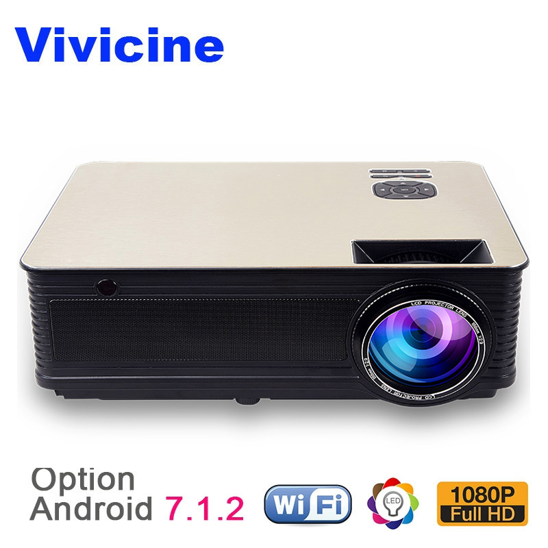 лучшая цена VIVICINE Home Theater HD Projector,5500Lumens Android 7.1 WiFi Bluetooth Optional, Support 1080p LED Video Game Projector Beamer