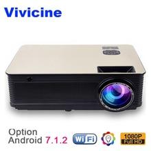 VIVICINE Home Cinéma HD Projecteur, 5500 Lumens Android 7.1 WiFi Bluetooth En Option, soutien 1080 p LED Jeu Vidéo Projecteur Beamer