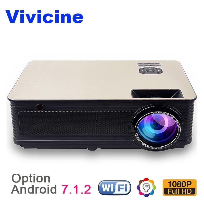 VIVICINE Home Theater HD Projetor, 5500 Lumens Android 7.1 WiFi Bluetooth Opcional, suporte 1080 p LED Video Game Projetor Beamer
