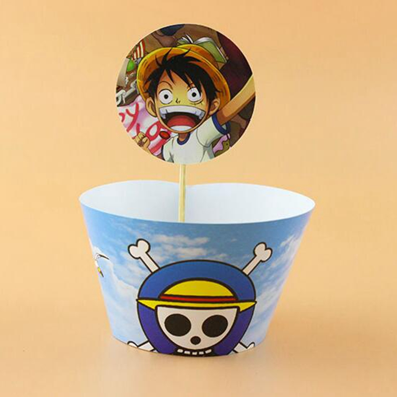 120pcs Cartoon Sea robber king Pirates Cupcake wrappers toppers pick ...