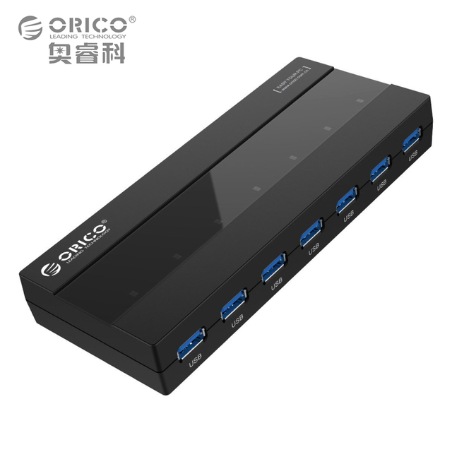 ABS 7 Portas HUB USB 3.0 com 12 V Power Adapter-Black