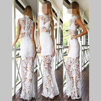 2016 New Sexy Free Women Black Red White Summer Long Maxi Dress Beach Lace Dresses Long